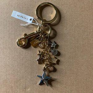 COACH Pave Star Multi Bag Charm Key Chain Ring Gld